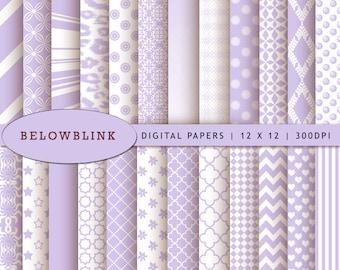 Lavender Digital Paper Pack, Scrapbook Papers, 24 jpg files 12 x 12 - Instant Download - DP243