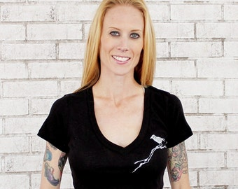 V Neck T Shirt, Birds On Branches Tshirt, Ladies Cotton Deep Vneck, V neck, tee shirt, top, black, nature bird, Hand Printed Nature Graphic