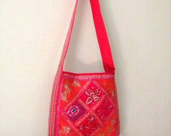 Funky  Embroidered Thread Sequins Work Shoulder Bag with old saree Patch Work For Schools  Handmade