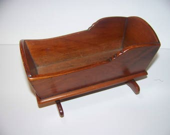 wood doll cradle 61/2 x 5 inches stained