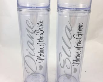 Set of 2- Mother of the Bride and Mother of the Groom Acrylic Skinny Tumblers, Mother of the Bride Gift, Mother of the Groom Gift, Weddings