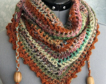 Womens Crochet Scarf Pattern With Bead Trim Triangle Neck Wrap Easy To Make Instant Download