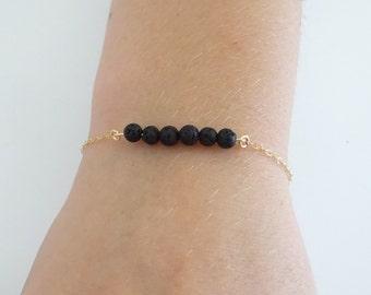 Lava bracelet, 6 Lava stone bracelet, Essential Oil Diffuser bracelet, Aromatherapy on the go
