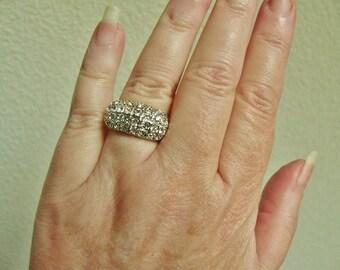 Vintage Pave Crystal Gold Ring, Size 6.75 or 7