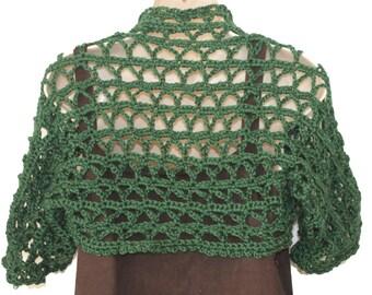 Green Shrug, Crochet Bolero, Womens Vest, Crochet Sweater, Plus Size Shrug, Womens Sweater, Green Sweater, Cropped Vest, Spring Bolero