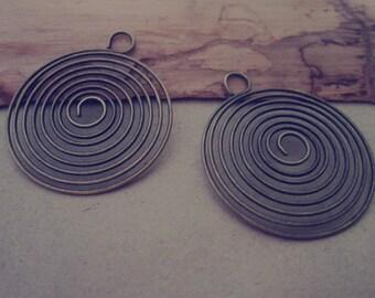 20 pcs Antique bronze coil spring 32mm