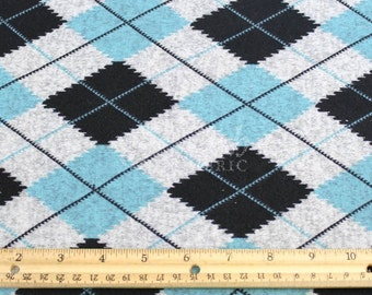 Teal Black Argyle Print Jersey Knit Fabric - 1 Yard Style 6455