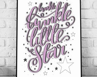 Twinkle Twinkle Little Star - A4 Hand Lettering Nursery Print // home decor, typography, hand lettering