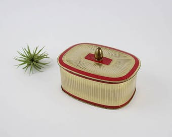 Vintage Collectible Red and Gold Tin - Made In Western Germany