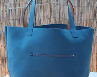 Tote bag / BiColor / blue and mustard yellow