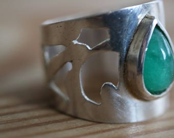 Silver Ring with Drop stone