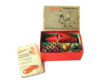 Schuco Fernlenk Auto 3000 Clockwork Car With Steering In Original Box with Accessories – Mechanical Toy - Wind Up Toy - Vintage Tin Toy