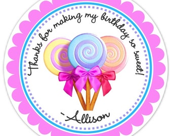 Lollipop Birthday Labels, Candy Land Lollipop Stickers, Birthday Decoration, Personalized Children Stickers