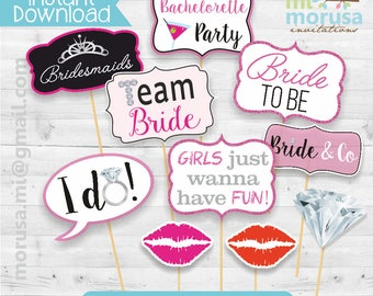 Printable Bridal Shower, Bachelorette, photobooth props, pink, black and silver, instant download file