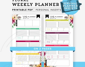 Weekly Planner Personal Planner Printable, Personal planner inserts Weekly Planner printable  Personal Size, Floral Planner INSTANT DOWNLOAD