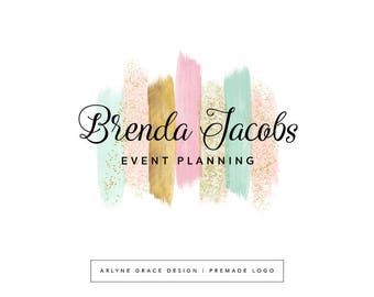 Premade Logo Design - Watercolor Logo - Glitter Pink Mint Gold Logo - Calligraphy Logo - Photography Business Logo - Branding Package Kit
