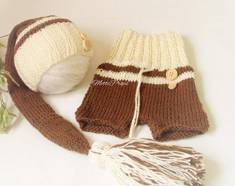 Knitted Brown-Cream Boy's Shorts and Long-Tail Hat Set Newborn Photography Prop