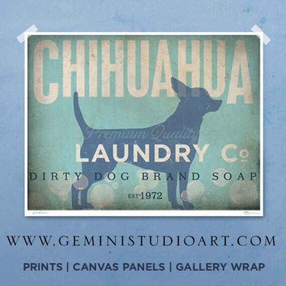 Chihuahua laundry company laundry room artwork giclee archival