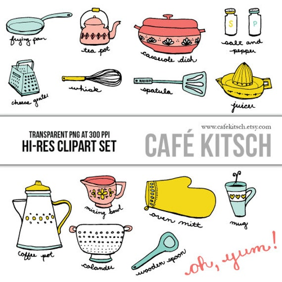 Kitchen Set Instan: INSTANT DOWNLOAD Kitchen Clip Art Set Hi Res Transparent