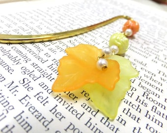 Yellow and Orange Autumn Leaf Bookmark, Rose Bookmark, Beaded Bookmark,Fall Bookmark, Student Gift,Teachers Gift, Readers, Mother's Day Gift