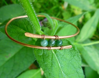 Copper and Gemstone Wire Bangle, Hammered, Stacking Bracelet, Gift for Her