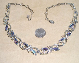 Vintage AB Rhinestone Necklace Iridescent  Marquise Shaped Stones Rhodium Plated 1960's Jewelry 11