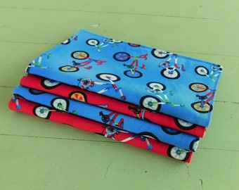 Everyday Cloth Napkins, Set of 4, Blue and Red Bicycles