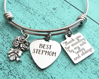 wedding gift for stepmom, stepmom of the bride gift bracelet, stepmom of the groom gift, thank you for standing by my, stepmom wedding gift