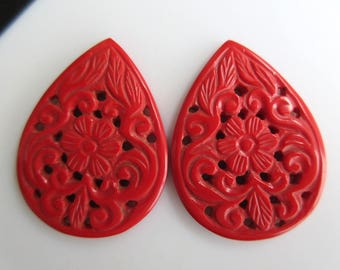 2 Pieces Matched Pair Pear Shaped Coral Jewelry Carvings, Hand Carved Filigree Findings, Gemstone Carving, 40x30x3.5mm, GDS858