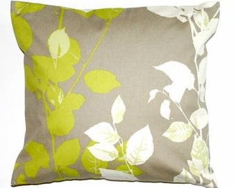 COPPER BEECH FLAX 18 INCH CUSHION PILLOW COVER GREEN GREY WHITE