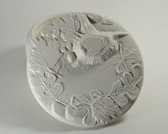Round Forest Box Ready to Paint Ceramic Bisque
