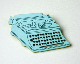 1960s Retro Typewriter Brooch- Hand Painted Laser Cut 'Trusty Typewriter' Pin