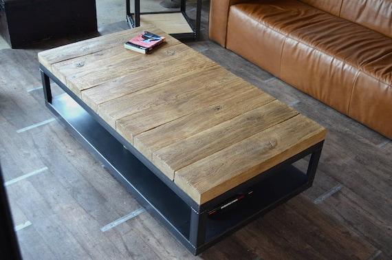 Table Basse Bois Brut Métal Table Basse À Roulettes