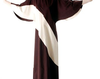 Vintage 1970s Vuokko Designer Angel Sleeve Tent Dress Brown & Ivory METSÄ Diagonal Stripes 44
