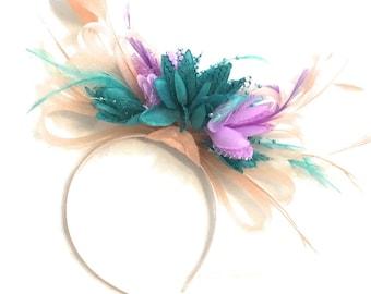 Peach Pink Hoop & Turquoise Aqua Green Lilac Purple Feathers Fascinator On Headband