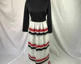 Vtg 60's Jerry Lurie Maxi dress black red white silver union made M-L
