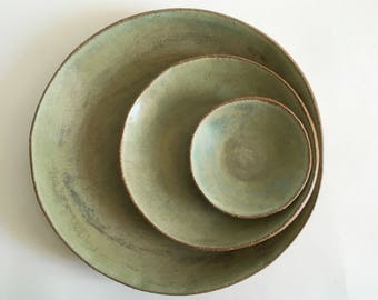 Ceramic Dinner Plates, Salad and Dessert Plates, Tapas Plates, Made to Order Handmade Stoneware Pottery Dishes in Matte Sweet Pea Green