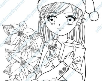 Christmas Digital Stamp, Poinsettia and Girl Coloring page, Xmas digi stamp, kids coloring book, instant download, printable, anime, manga