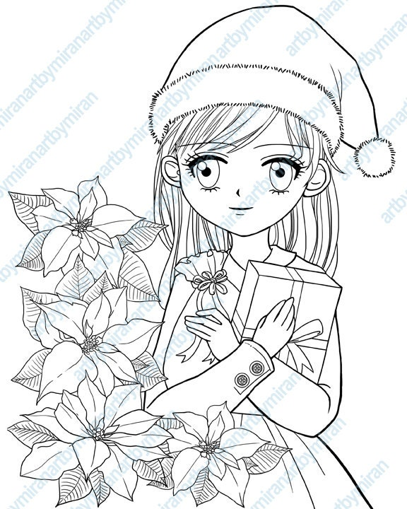 Christmas Digital Stamp Poinsettia and Girl Coloring page
