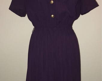 Vintage 80's Purple Dress / size 8 / by Leslie Fay