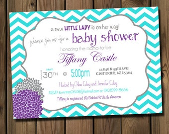 Baby Girl Shower Invitation, Chevron Invitation Turquoise, Purple and Grey, Digital File,  PRINTABLE _1115
