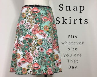 Skirt Adjustable Wrap Snap Cotton Garden Skirt unique clothes for women gift yoga casual work Erin MacLeod FREE SHIPPING