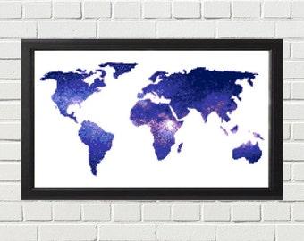 World Map Cross Stitch Pattern, Modern Map Cross Stitch, Galaxy Cross Stitch, Travel Cross Stitch, xstitch Pattern, Wanderlust, Blue, Purple