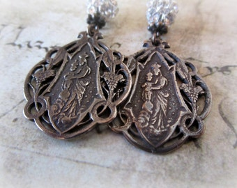 Jesus and Mary Bronze and Crystal Earrings