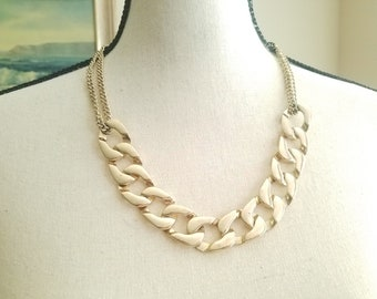 Multichain Versatile Gold Link Necklace Adjustable Choker Collar Large Link Vintage Costume Jewelry Chanel Style