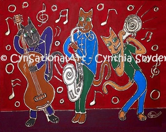 """Whimsical Art Print of Original Painting """"Jazz Cat Trio""""   5 x 7 or 8 x 10  Blues Music Instruments Trumpet"""