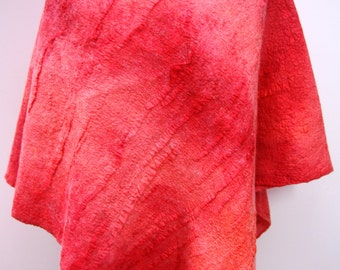 Red Nuno felted women's poncho