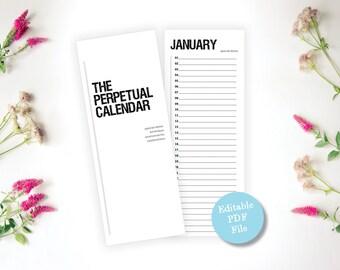 Printable Modern Perpetual Calendar - Editable Pdf Calendar - Birthday Calendar, Anniversary Calendar, Eternal Planner - Instant Download