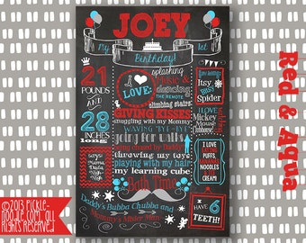 1st Birthday Red and Teal Chalkboard Poster Sign Printable /DIGITAL / baby's 1st / Baby Boy or Girl First Birthday Color / and FREE Web File