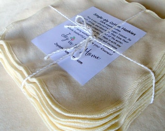 24 thin little organic cotton hankies - Set of 24 - 7x7 inches - natural color